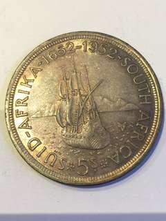 1952年 南非開普敦 開埠300年 5 shillings 大銀幣(1st)