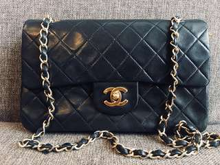 Authentic Chanel classic 23cm lambskin with 24k gold hardware