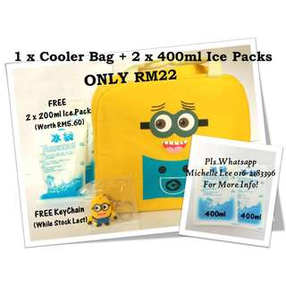Minion Cartoon Thermal Insulated Children Hot Lunch Cooler Bag Breast Milk Ice Pack Storage