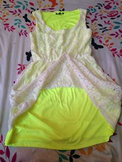 Summer Colored Two Tone Dress