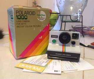1977 Polaroid 1000 Land Camera Green Button in box