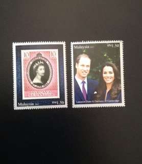 2012 The Diamond Jubilee1952-2012 - The Royal Visit to Malaysia by TRH The Duke and Duchess of Cambridge Set of 2V Mint