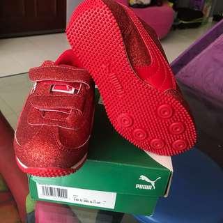 PUMA 11.5 Kids' Whirlwind Glitz Velcro Sneaker Red