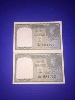 India - British One Rupee Year 1940 2 Run UNC