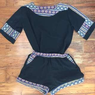 Basic Black/Aztec Design Shirt and Shorts