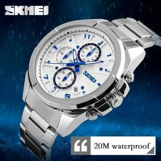 SKMEI fashion mens watch w/date stainless waterproof 10M 6months warranty Japan machine#9109