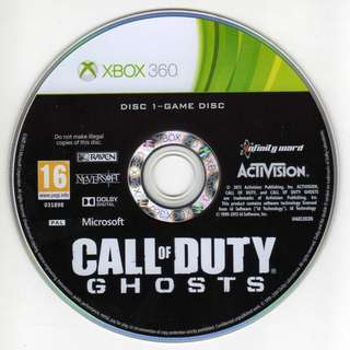 Preowned game disc COA Call of Duty Ghosts Xbox 360 *Disc Only No Case Covers Booklets etc*