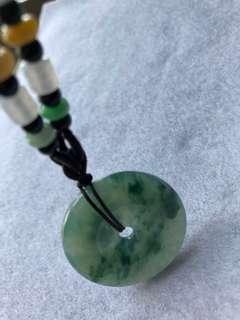 天然翡翠平安扣飄绿花,水頭充足約34mm/7.9mm