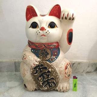 Old japanese lucky cat ceramic figure