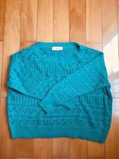 🚚 綠色針織短版罩衫