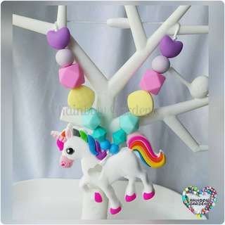 Customised Unicorn Teether with pastel beads Carrier Accessory