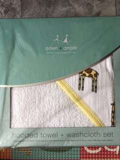 Aden anais giraffe hooded towel + washcloth set