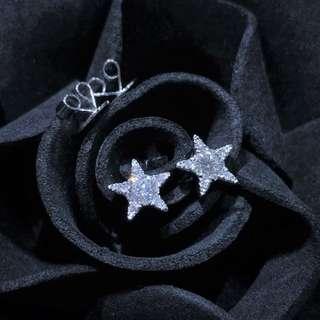 【Peggyhoho】全新18K 白金27份閃閃鑽石耳環 |簡約清新|星星耳環