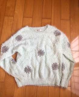 🚚 薄荷綠小花毛衣