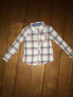 H&M 4-5y Plaid Cotton Polo For Girls