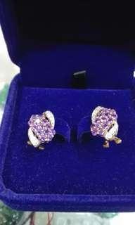 南晶橙晶18K金鑽石耳環2對