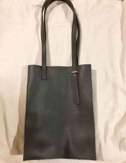 Parisian Gray Leather Shoulder Bag