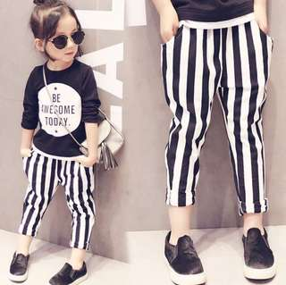 *In stock* Black & White Stripes Pants