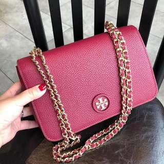 TORY BURCH WHIPSTICH LOGO ADJUSTABLE CHAIN CROSSBODY