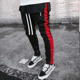 MNML Track Pants Black Red