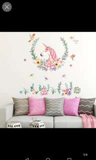 Unicorn Nordic ins Wall stickers Children's room Bedroom Cute Girl Dormitory Room Doors Living room Wall Decoration Self-adhesive Home decor