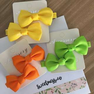 Set of 6 Baby ribbon hairclips - Tropical