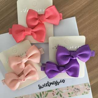 Set of 6 Baby ribbon hairclips - Girly