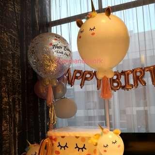 Unicorn themed balloon decoration @zoeyhandiwork