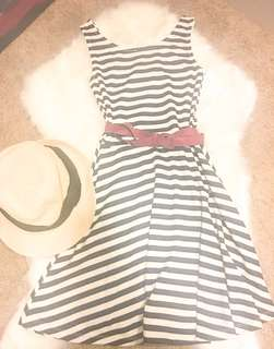 Striped black and White Summer Spandex Dress