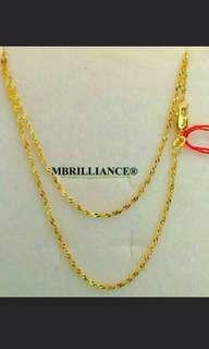 Sexy Slim twist chain necklace, 916 Yellow Gold
