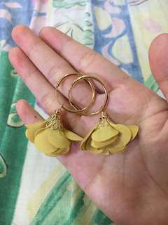 Mustard Yellow Flower Gold Loop Earrings