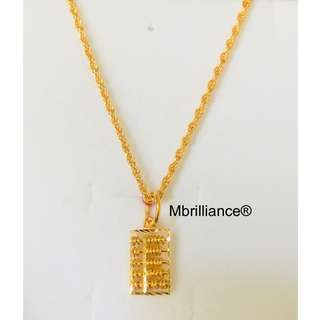 Abacus Pendant & sz1 rope chain necklace set , 916 Gold by mbrilliance