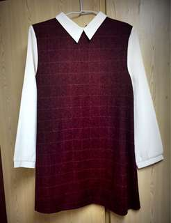 🚚 格紋深紅裙