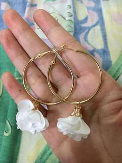 White Flower Gold Loop Earrings