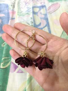 Maroon Flower Gold Loop Earrings