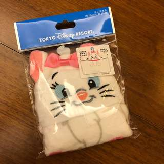 全新 日本迪士尼 瑪麗貓 marie 小毛巾 可折疊攜帶