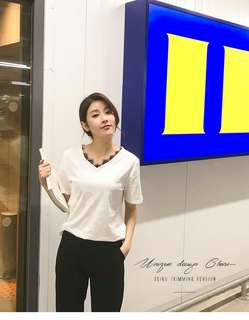 PQ52429# 夏新款V領竹節棉拼接羽毛蕾絲寬鬆短袖T恤