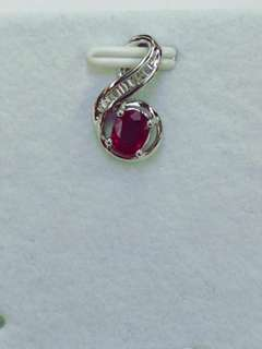 18K White Gold Ruby with Diamonds Pendent