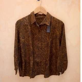 Brown Vintage Pattern Blouse
