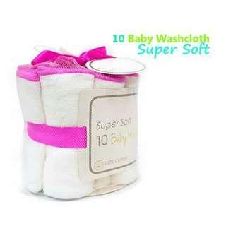 10pc Baby Cotton Washcloth - PINK