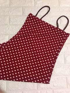 Red polka dots bodycon dress