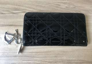 Brand New Christian Dior Zipper Wallet in Patent Sheepskin Leather Canvas
