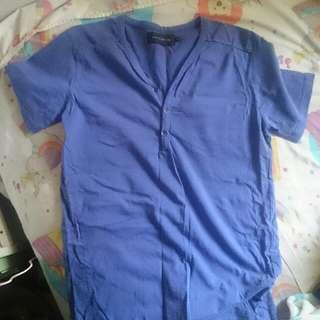 藍色做舊洗水風短袖亨利領男裝Tee