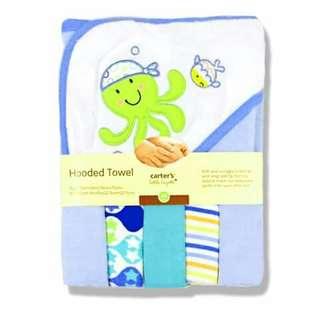 Baby Hooded Bath Towel and Washcloth Set - BLUE
