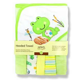 Baby Hooded Bath Towel and Washcloth Set - GREEN