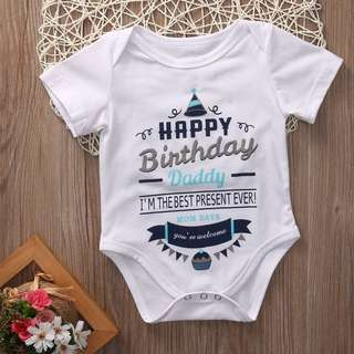 Instock - happy birthday daddy romper, baby infant toddler girl boy children cute chubby 123456789 lalalaa