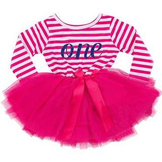 Instock - 1st got pink birthday dress, baby infant toddler girl children cute chubby 123456789 lalalala