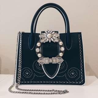 Miu miu Madras Leather Miu Lady Tote shoulder Handbag