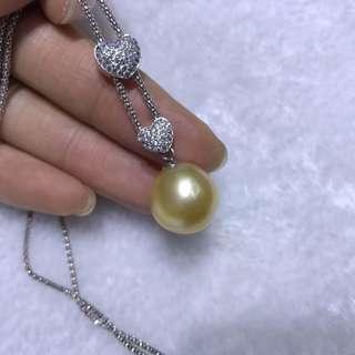 Sold  孤品 近圓無暇14.7mm大金珠 四季鏈🉑️調節