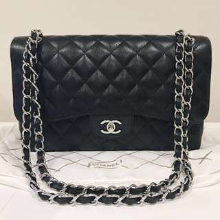 (SALE) Chanel Classic Flap Black Caviar Leather Jumbo Handbag Bag
